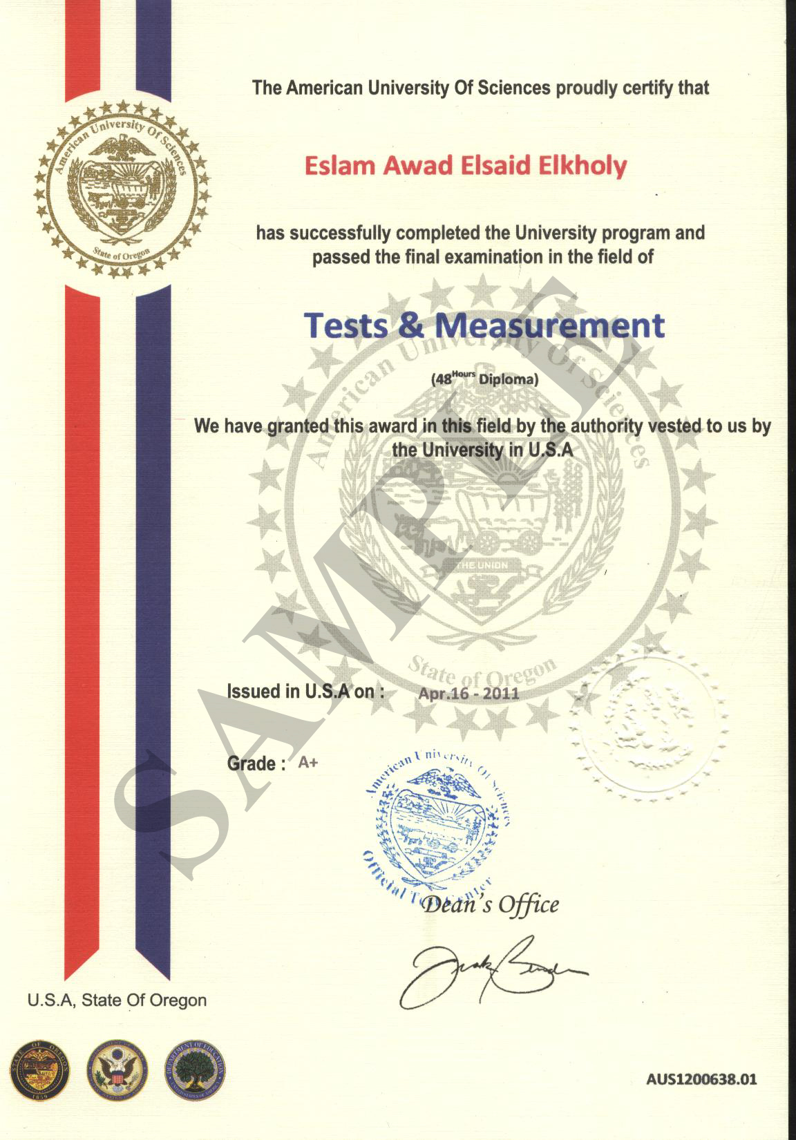 American university of sciences official certificate yelopaper Images